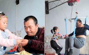 filha de 6 anos cuida do pai paralisado